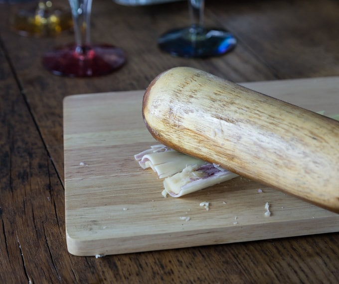 Breaking down lemongrass to add to simple syrup for lemongrass infused simple syrup. | ethnicspoon.com