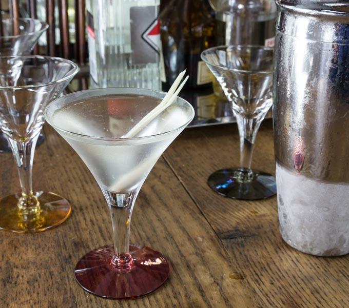 a lemongrass martini on a bar