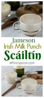 Irish scailtin or milk punch is a whiskey drink you must try! Here is a favorite Saint Patrick's Day cocktail that will warm you up on a cold March 17th! The scailtin is a hot toddy stye cocktail make with Jameson or another Irish whiskey, milk, cinnamon, ginger, honey and a little nutmeg. This is like comfort food in a cocktail ! #irishwhiskey #milkpunch #whiskey #cocktails | ethnicspoon.com