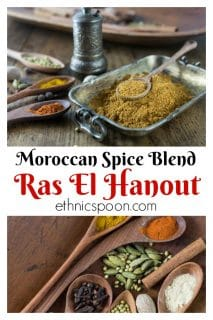 Grind up your own homemade Moroccan Ras El Hanout. This spice blend can be up to 100 spices and can vary by the spice maker. Use a spice grinder or coffee grinder dedicated to grinding spices to make this Moroccan spice blend. If you want to go old school you can use a mortar and pestle. You can sprinkle this on chicken, kebabs, lamb, add it to your tagine dish or slow cooker. Try some in soups and stews too. The flavors are amazing. #moroccanspice #raselhanout #spiceblend #spice #moroccanfood #grillspice #kebab #tagine | ethnicspoon.com
