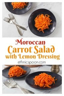 The Moroccan spice blend ras el hanout gives this carrot salad an exotic flavor. You can simply combine shredded or spiralized carrots, lemon juice, olive oil, salt, pepper, mint and ras el hanout. #carrotsalad #healthysalad #picnicsalad #raselhanout #Moroccanfood #Moroccanspice #lemondressing #carrotrecipe   ethnicspoon.com