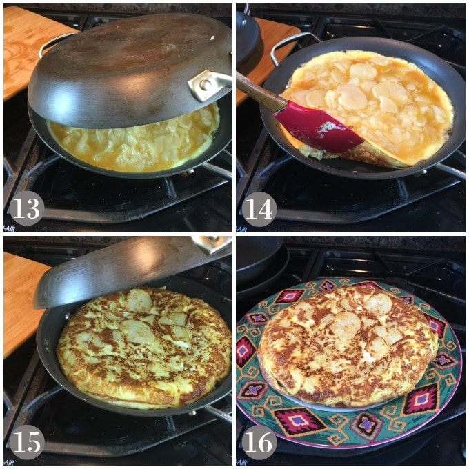 Spanish omelette cooking in a tandem pan and flipping over when brown on one side.
