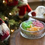 Old fashioned home made hard Christmas candy in a glass dish.