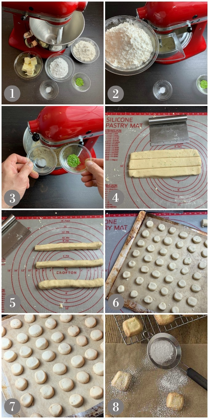 Collage of photos showing steps to make polvorones cookies with a mixer and ingredients.
