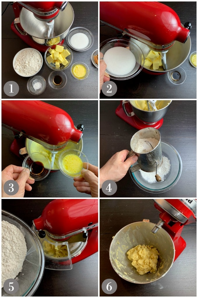 A collage of photos showing preparation of the dough for Irish butter cookies with a stand mixer.