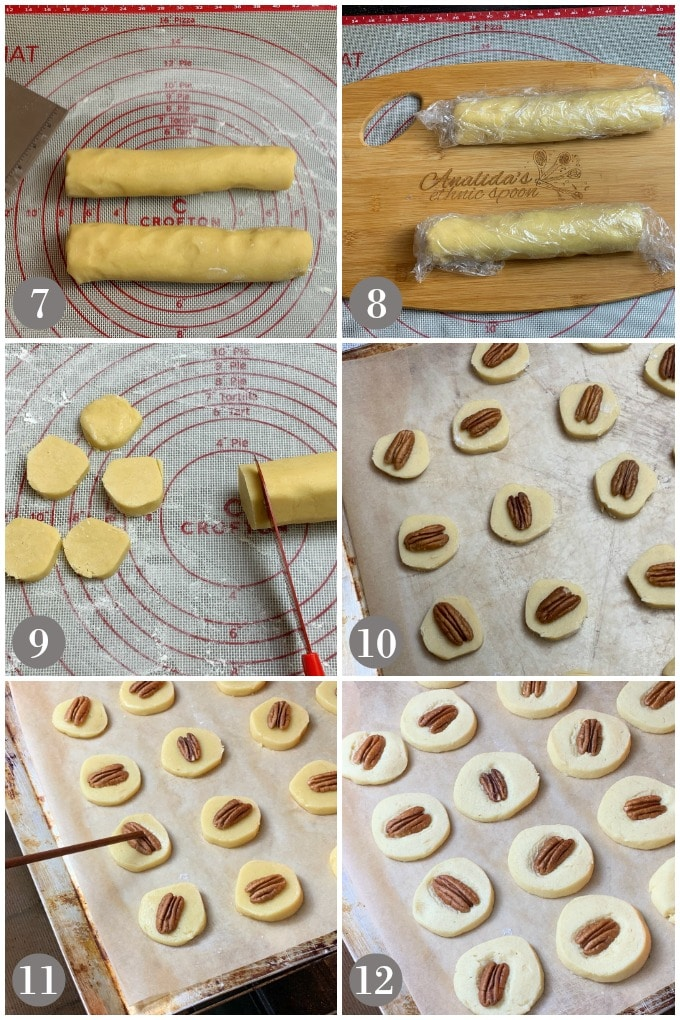A collage of photos showing a log of chilled dough with the steps to cut and bake Irish butter cookies.