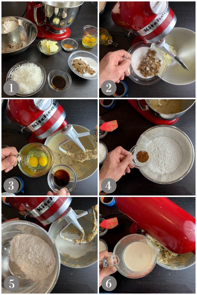 A collage of photos showing the steps 1-6 to make Jamaican toto cake with a mixer.