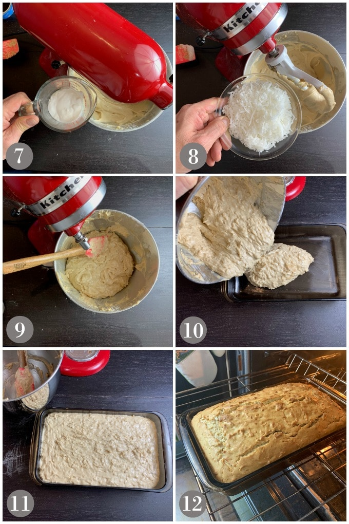 A collage of photos showing a mixer and steps 7-12 to make Jamaican toto Caribbean coconut cake.