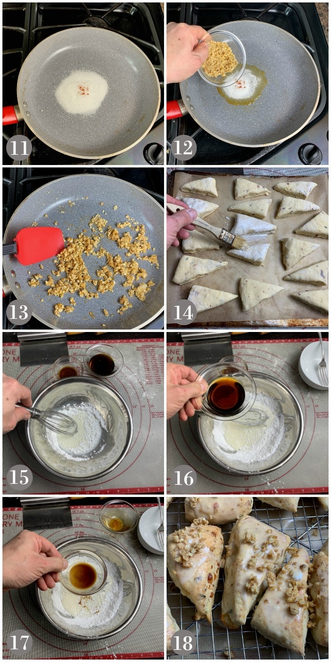 A collage of photos showing how to make the maple glaze for walnut scones.