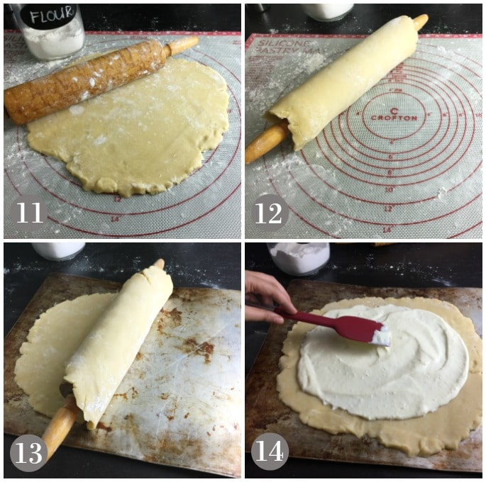A collage of photos showing a rolling pin and dough rolled out to make blueberry crostata.
