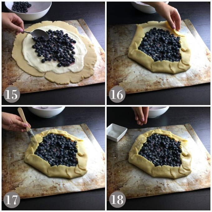 A collage of photos showing the cream cheese filling and blueberry filling being added to dough for blueberry crostata.