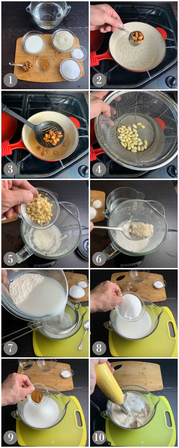 A collage of photos showing blanching almonds in a pan and then making Spanish horchata from rice, cinnamon, sugar and milk.