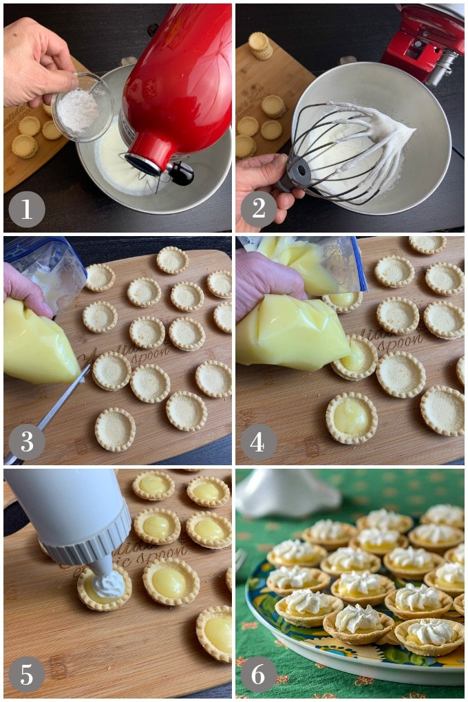 A collage of photos showing steps to make whipped cream and filling mini lemon cord tartlets.